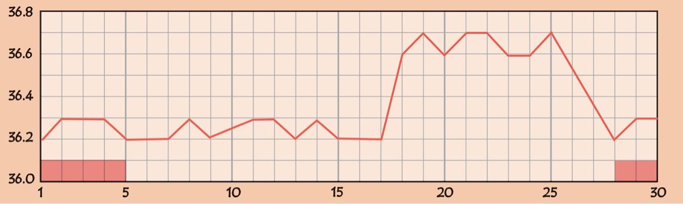 低温期が長いの基礎体温のグラフ