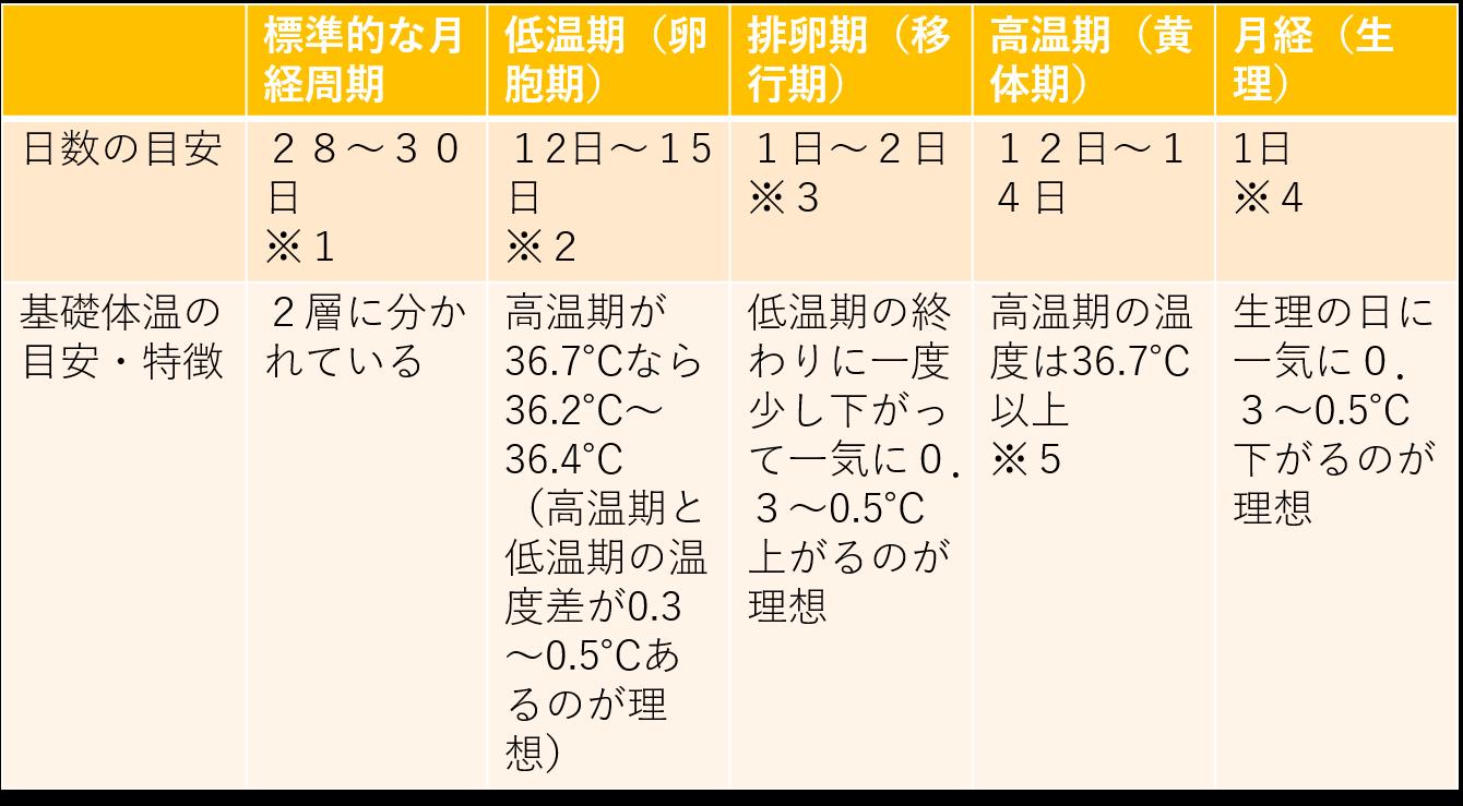 基礎体温の日数とそれぞれの時期の温度の目安